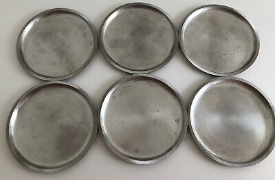 6x Zinn Untersetzer by Just Andersen Denmark Art Deco 2634