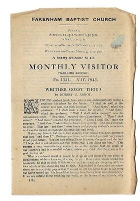 """Monthly Visitor Tract"" ~ May 1943 ~ Fakenham Baptist Church ~ War-Time Edition"