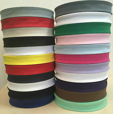 5 Meters Of 25Mm (1 Inch) Cotton Bias Binding Tape  - Various Colours