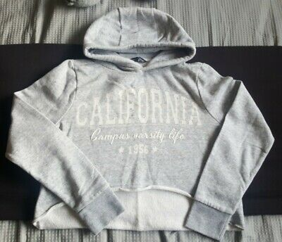 Girls Grey 'California' Cropped Hoodie From Candy Couture At Matalan Aged 12-13