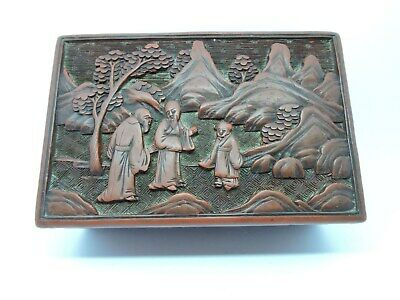 Antique Chinese Carved Cinnabar Lacquer Box With Figures.