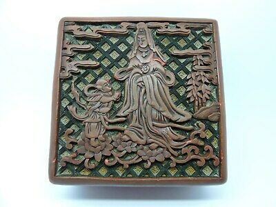 Antique Chinese Carved Cinnabar Square Lacquer Box With Figures.