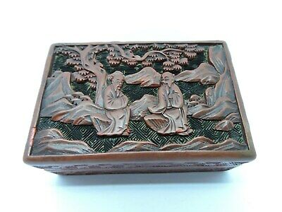 Antique Chinese Carved Cinnabar rectangular Lacquer Box With Figures.