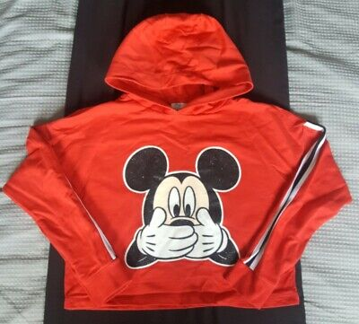 Girls Red Cropped Mickey Mouse Hoodie From Primark Aged 11-12 Years