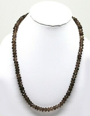 """Natural Smoky Quartz Faceted Rondelle Beaded Necklace, 18.5"""" Gemstone Necklace"""