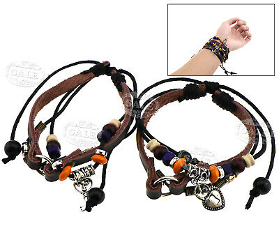 2 x Adjustable Couples Bracelet Lock & Key Bracelet Aniversary Gift Ethnic Style