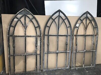 1 Antique Gothic Cast Iron Arched Window Frame 6 Available OTO