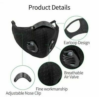 Black Face Mouth Cover PM2.5 Activated Carbon Filter Air Valve Reusable Anti Fog