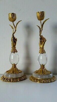 ANTIQUE PAIR CANDLESTICKS ROCK CRYSTAL & DORE BRONZE (Gold Plated) excellent