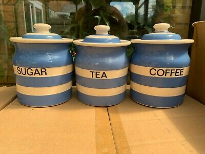 T G Green Cornishware Blue & White Tea, Coffee, Sugar Set Old style stamps
