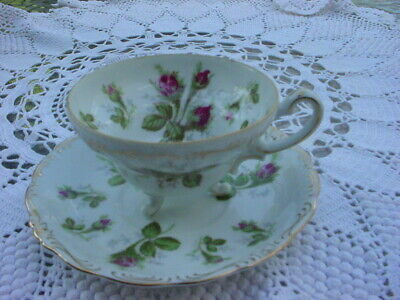 Vintage Norcrest  Tea Cup and Saucer Matching Set Pink Rose Gold Tone