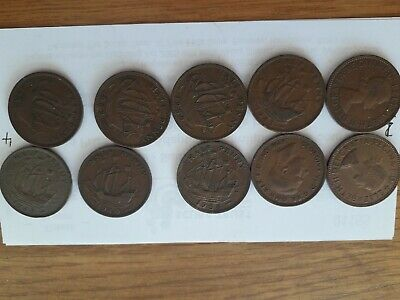 old half penny coins 10 different dates 4 decades (4)