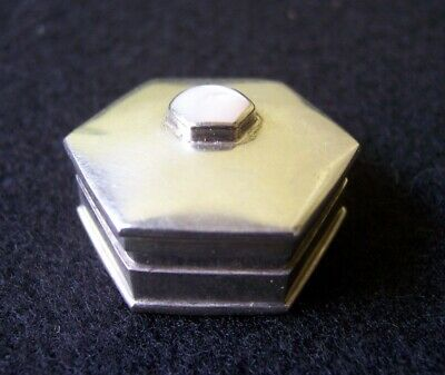 Vintage dainty small sterling silver hexagon pill box with MOP? top stone
