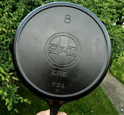 Real Nice # 8 Griswold Cast Iron Skillet P/N 704N With Slant Logo & Heat Ring