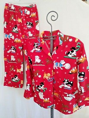 Woman's Nick & Nora Pajama Set Flannel Med Dogs Sleds Ice Skates Red Medium