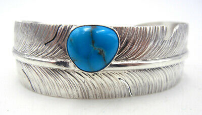 Navajo Ben Begay Turquoise and Sterling Silver Feather Cuff Bracelet