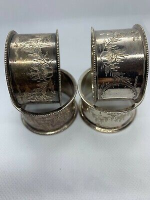 Set Of 4 Silver Plated Napkin Ring Epns