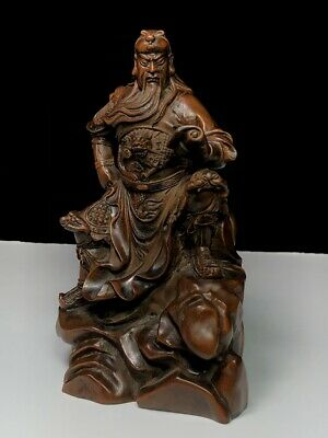 Collectable Handwork Boxwood Carved Guan Yu Took Book Precious Auspicious Statue