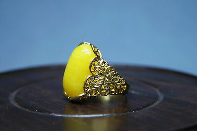 Decoration Exquisite Rare Miao Silver Inlay Yellow Gems Auspicious Elegant Ring