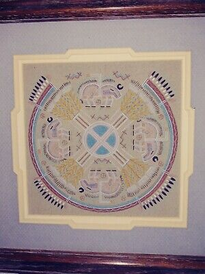 "1995 Navajo Sand Painting by Hosteen Etsitty 12x12 "" Signed On Back COA"