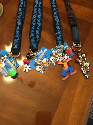 Disney World Pin Trading Lanyard Starter Lot Set Of 4 Assorted