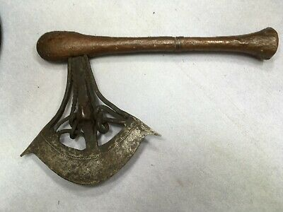 Songye ax, forged blade with janus faces.Vintage African Art
