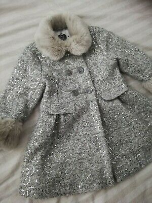 Girls Silver Sequin Jacket With Faux Fur Collar 4-5 Years Party special occasion