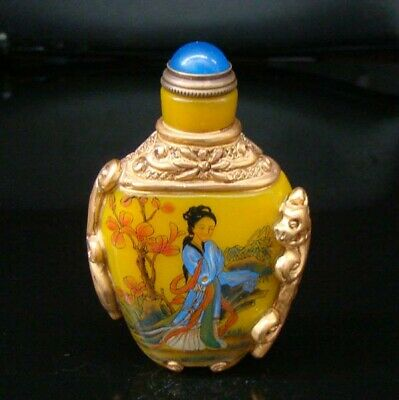 100% Handmade Carving Painting Gilt Snuff Bottles old peking Colored glaze 016