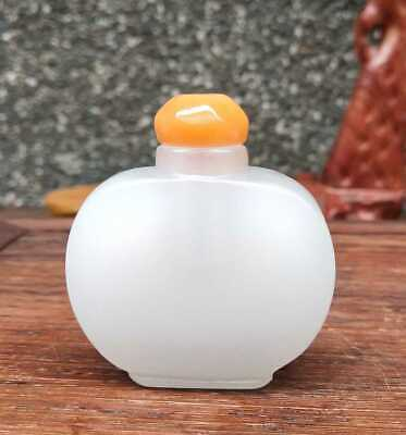 Chinese Natural HeTian Jade Handmade Carved Statue Exquisite Snuff Bottles 022