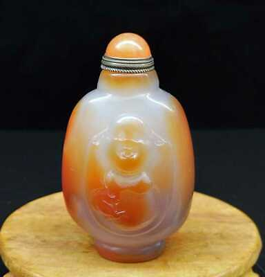 "3.35"" Natural Agate Jade Snuff Bottles Exquisite Hand-Carved Statue"