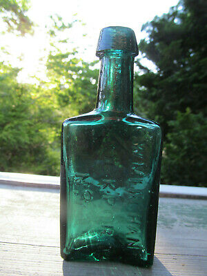 GW MERCHANT LOCKPORT NY Small Size Long Neck CRUDE Green Open Pontil Bottle