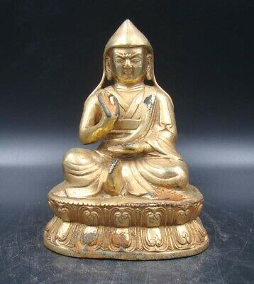 Collectible Handmade Carving Statue Buddha God India Copper Brass Gilt