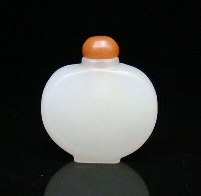 Chinese Natural HeTian Jade Handmade Carved Statue Exquisite Snuff Bottles 004