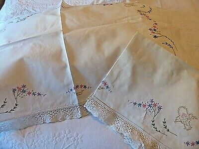 Antique Hand Embroidered Pillow Shams - Stunniing - Could Be Used As Doilies