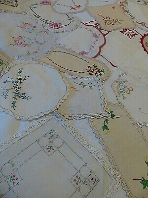32 X Vintage Hand Embroidered Doilies