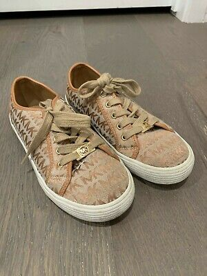 Michael Kors Girls Sneakers Shoes Size 3 Black And Gold Color Long Laces