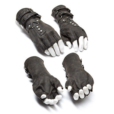 Punk Rave Cool Steampunk Fingerless Gloves Military Gothic Rock motocycle gray U