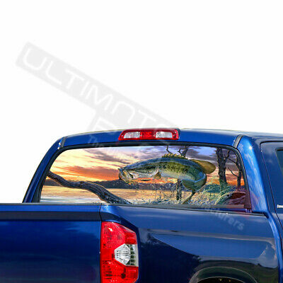Fishing Decals Window See Thru Stickers Perforated for Toyota Tundra 2016 2017