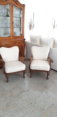 Sessel Chippendale Cremfarbige Polster