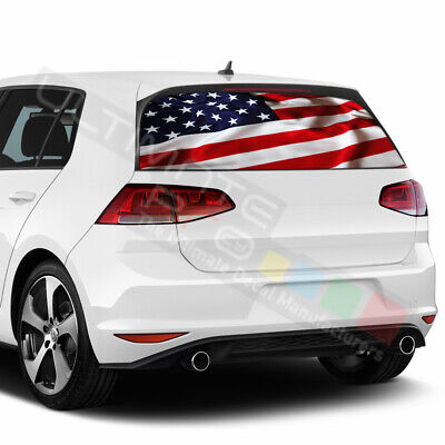 Flags Decals Window See Thru Stickers Perforated for Volkswagen Golf 2018 2019