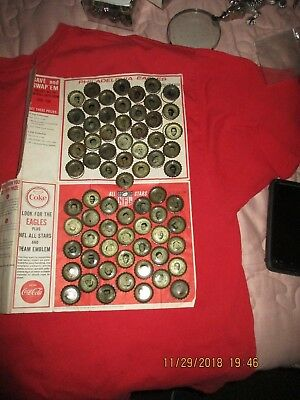 1966 Philadelphia Eagles And Nfl Allstars Coke Caps With Saver Sheet Complete