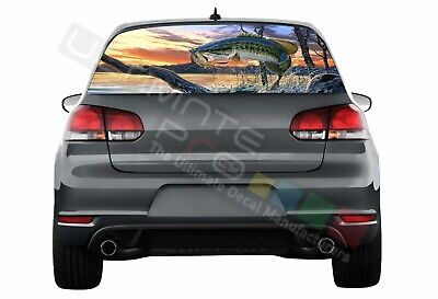 Fishing Decals Window See Thru Stickers Perforated for Volkswagen Golf VW Old
