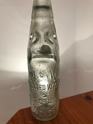 N.S.W. AERATED WATER & C Co LTD NEWCASTLE SMALL MARBLE BOTTLE sydney glass works