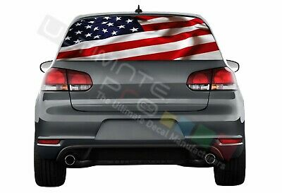 Flags Decals Window See Thru Stickers Perforated for Volkswagen Golf VW Old