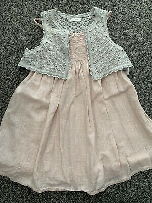 Girls Age 5 Years Pink Cotton Dress With Short Grey Knit Bolero From Next