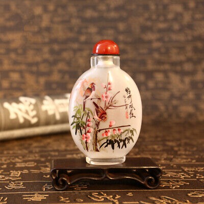 Inner Painting Snuff Bottle Chinese Antique Twin Sparrow Stand on Plum Tree