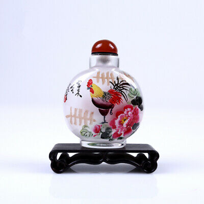 Inner Painting Snuff Bottle Chinese Antique Lucky and Happiness Christmas Gift