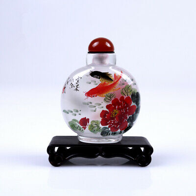 Inner Painting Snuff Bottle Chinese Antique Beautiful Fishes Symbolizes Wealth