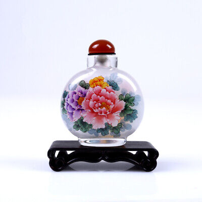 Inner Painting Snuff Bottle Chinese Antique Showy Flower Peony Christmas Gfit