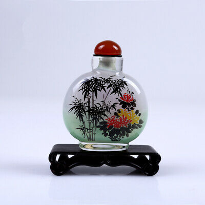 Inner Painting Snuff Bottle Chinese Antique Plum blossoms Orchids Chrysanthemums